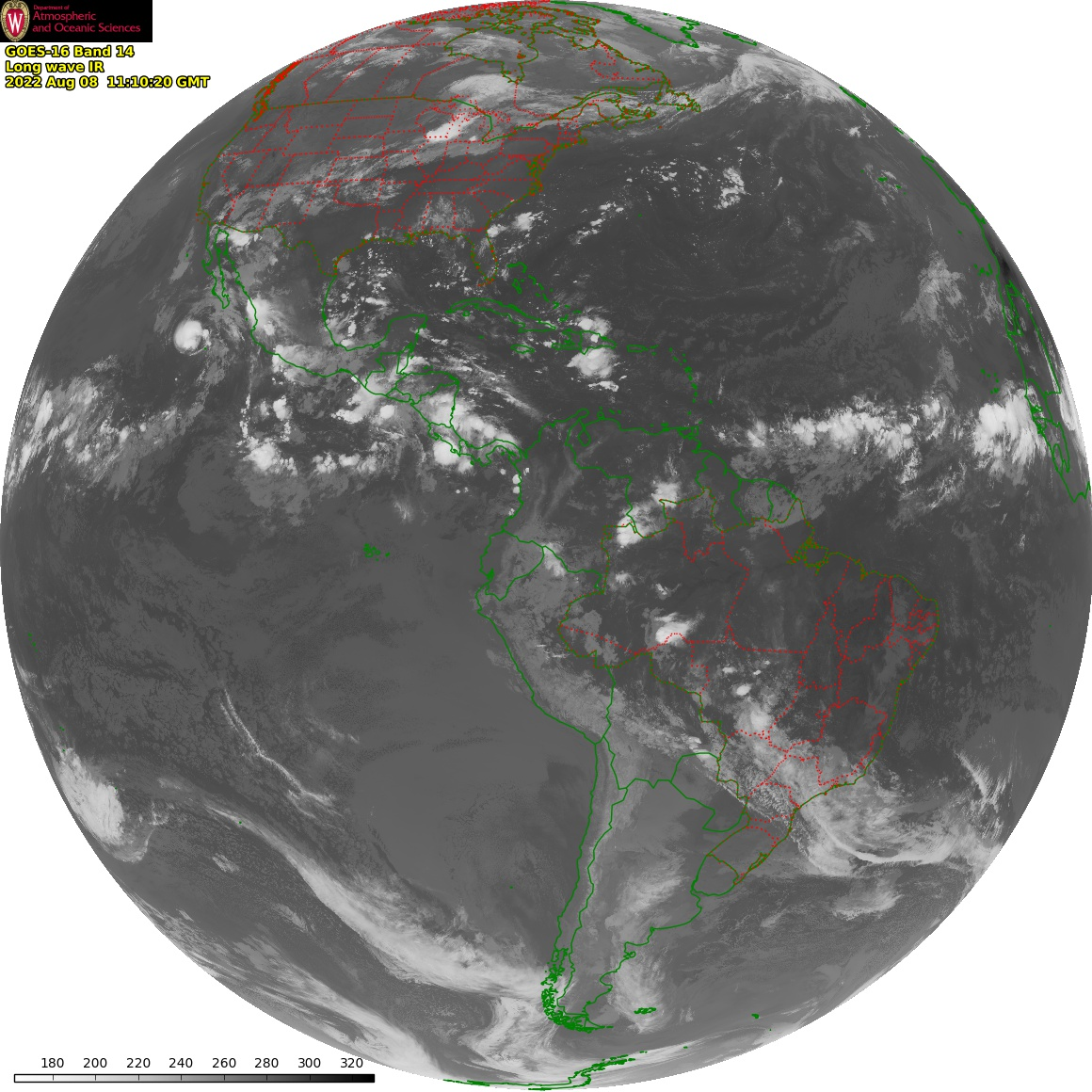 Most recent Geostationary Operational Environmental Satellite (GOES) image of the Eastern United States